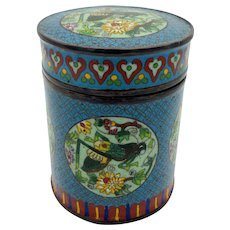 Antique signed Chinese cloisonne lidded jar with Crickets