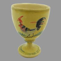Fine early miniature painted treen wood goblet with pheasant