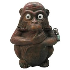 Antique glass eyed Monkey vesta match holder case