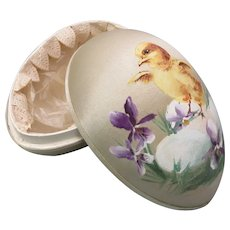 Antique German silk covered Easter egg candy box with  hand painted baby chick scene