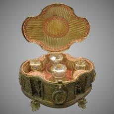 Antique Grand Tour bronze casket box holding perfume bottles with figures putti