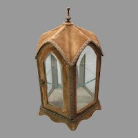 Antique miniature dolls vitrine display case shaped like a Cathedral or gazebo