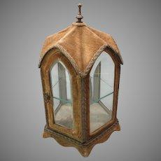 Antique miniature dolls vitrine display case shaped like a Cathedral or gazebo