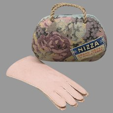 Pale pink French Fashion doll leather gloves with matching candy box pocketbook purse
