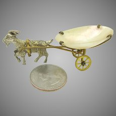 French fashion doll miniature Grand Tour goat pulling pearl shell cart
