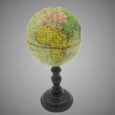 Antique miniature French dolls paper Terrestrial globe