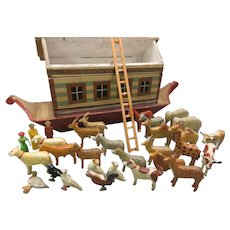 19th Century German Noah's Ark with stables ladder and boat bottom and 33 animals 4 people