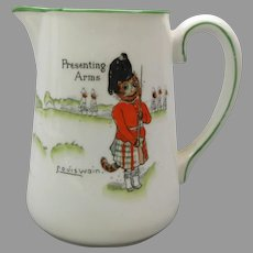 "Antique porcelain signed Louis Wain cats pitcher ""Presenting arms"" Tinker Tailor series Paragon China"
