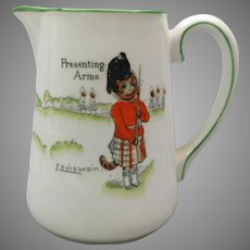 """Antique porcelain signed Louis Wain cats pitcher """"Presenting arms"""" Tinker Tailor series Paragon China"""