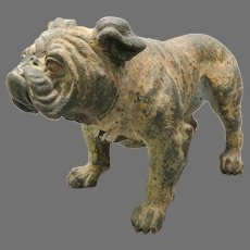 Large antique Austrian cold painted bronze Bulldog statue figure