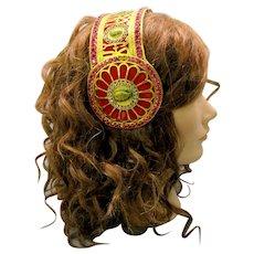 Antique Art Nouveau Mucha jeweled head dress tiara head piece