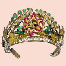 Antique ormolu jeweled en tremblant tiara head piece head dress