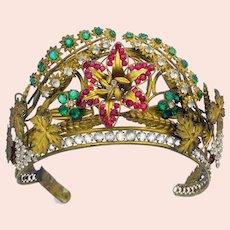 Antique ormolu jeweled en tremblant tiara head piece head dress