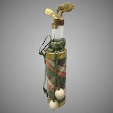 Vintage novelty perfume bottle set figural Golf clubs in golf bag