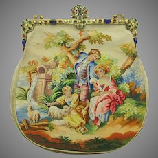Vintage Aubusson tapestry Ladies pocket book purse with jeweled frame