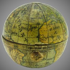 19th Century miniature world globe traveling inkwell