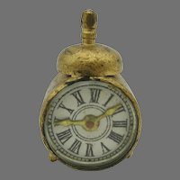Tiny antique doll house miniature novelty alarm clock with compass