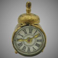 Tiny antique doll house miniature novelty alarm clock with compass