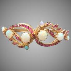 Vintage solid 14k gold ruby and opal hinged bangle bracelet