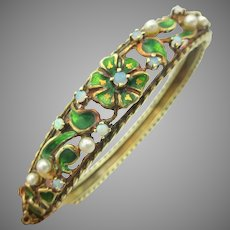 Vintage 14k gold and enamel flower hinged bangle bracelet with pearls & opals