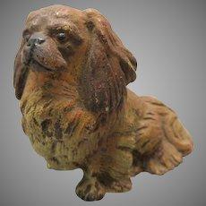 Antique cold painted Austrian bronze Pekingese dog figure statue