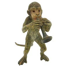 Antique cold painted Vienna bronze Monkey playing a musical horn figure statue