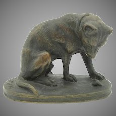 Antique signed miniature cabinet bronze of a dog looking down Joseph Victor Chemin 91825-1901)