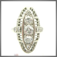 Estate Art Deco platinum and diamond ring in a size 6