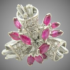 Unusual vintage 18k gold diamond and ruby Retro statement ring size 6 Flowers or bells
