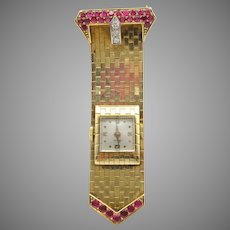 Retro solid 14k gold Mido buckle watch pin brooch with diamonds and rubies