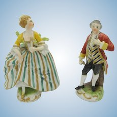 Pair of antique miniature Dresden porcelain figurines for doll house sideboard or vitrine