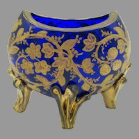 19th Century Moser glass miniature footed moon vase for dollhouse in cobalt with gilding