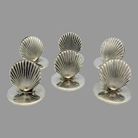 Set of 6 vintage Tiffany & co makers sterling silver seashell place card holders