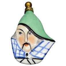 Art Deco German porcelain figural head perfume bottle of Oriental man Mandarin