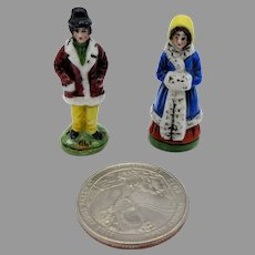 "Pair of tiny antique German porcelain Winter figurines for doll house or miniature vitrine 1 1/2"" tall"