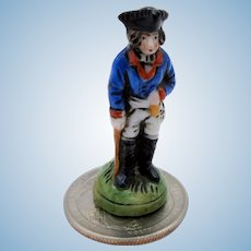 Antique miniature German porcelain figurine of a soldier for doll house or miniature vitrine