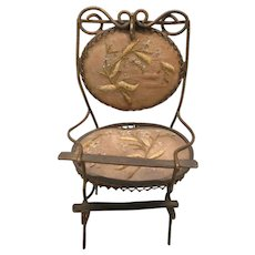 Antique miniature chair watch hutch holder with embroidered damask set and back