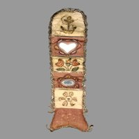 18th Century Huswif sewing case roll up with heart shaped mirror and metallic thread work
