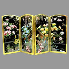 Fine Ando Japanese cloisonne Inaba folding miniature screen Birds & wisteria