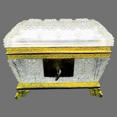Antique Baccarat molded glass and bronze casket dresser box Grand Tour