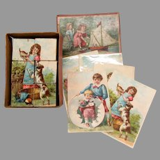 Victorian dolls miniature block set complete in original box