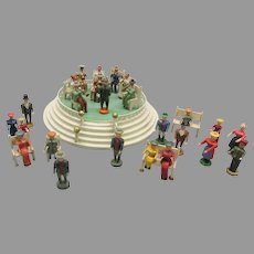 Antique Erzgebirge Bandstand musicians and audience wood toy set for village common