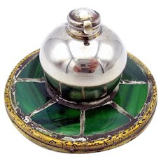 Signed sterling silver bronze and mosaic glass Arts & Crafts inkwell
