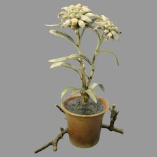 Antique Vienna Austrian cold painted bronze figural inkwell of a flower in a flower pot