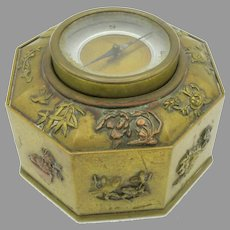 Antique Meiji Japanese mixed metals inkwell with a compass in the lid