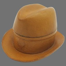 Antique novelty traveling inkwell of a leather Fedora hat