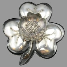 19th Century silver and crystal figural flower inkwell Austrian or French