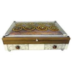 Large European silver and enamel cigar box Arts & Crafts