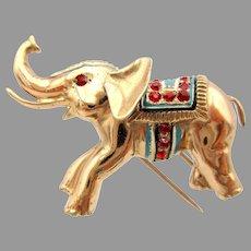 Vintage Nettie Rosenstein Elephant fur clip brooch in sterling silver with jewels