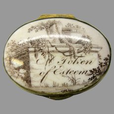 "18th Century Battersea Bilston enamel patch box ""Token of esteem"" as is"